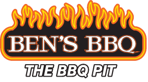 "logo of flames with the words ""Ben's BBQ The BBQ Pit"""