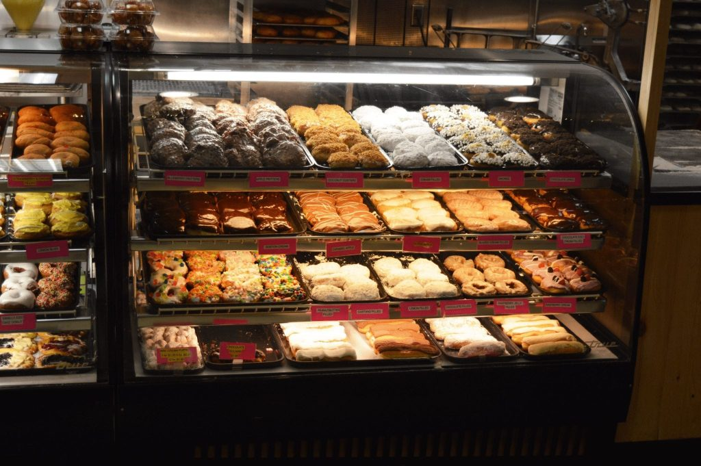 display case full of donuts