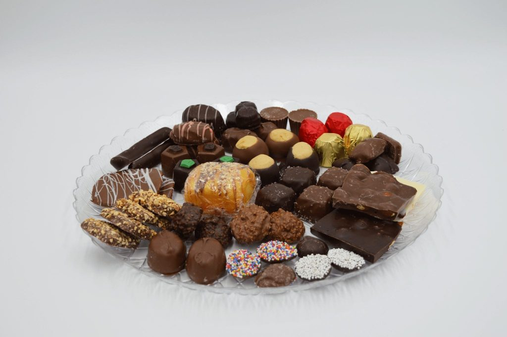 platter of various different chocolates