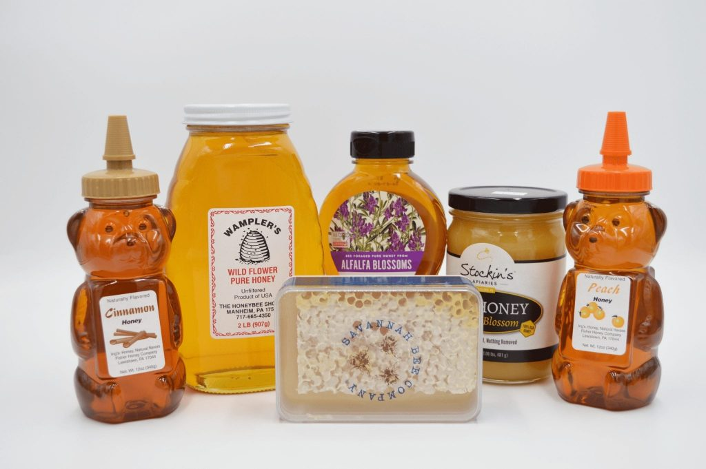 various bottles of honey products