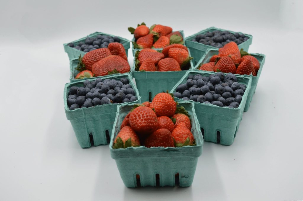 quarts of strawberries and blueberries
