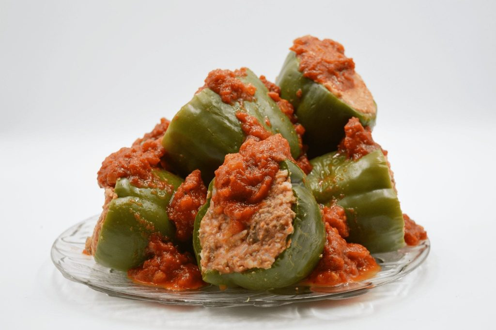 plate of stuffed bell peppers