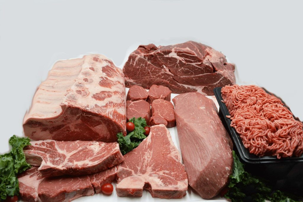 variety of raw meat