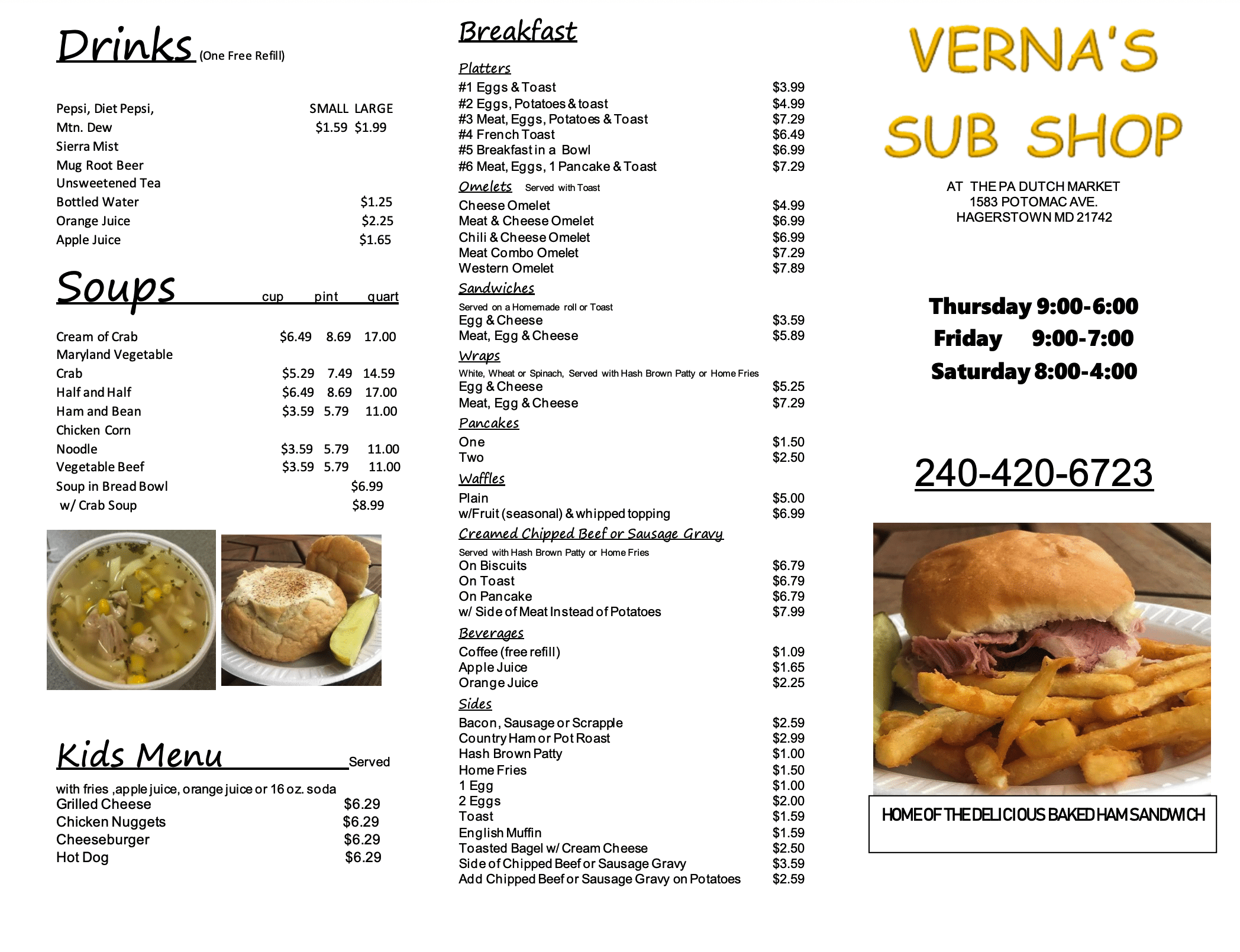 Vernas Sub Shop Menu Page 1