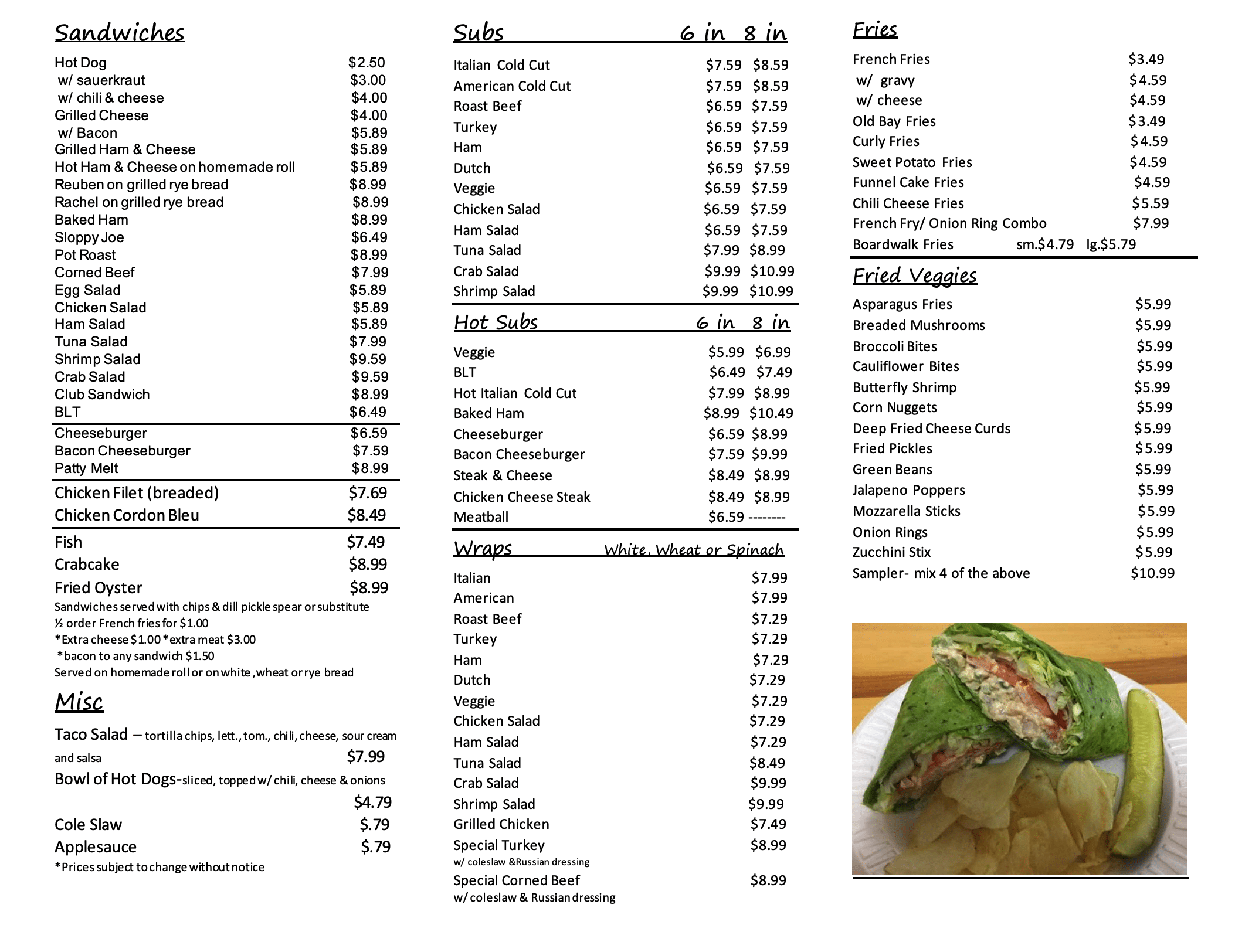 Vernas Sub Shop Menu Page 2
