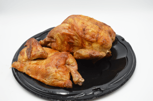 plate containing rotisserie chicken