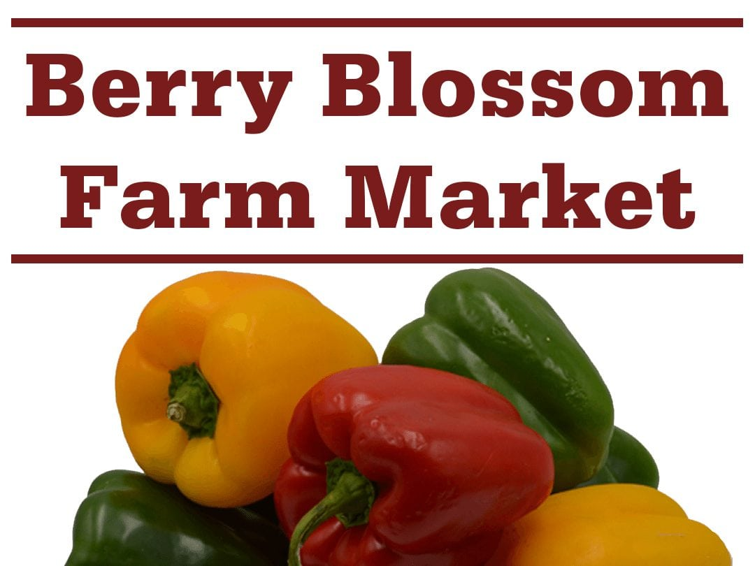 "a pile of bell peppers and words ""Berry Blossom Farm Market"""