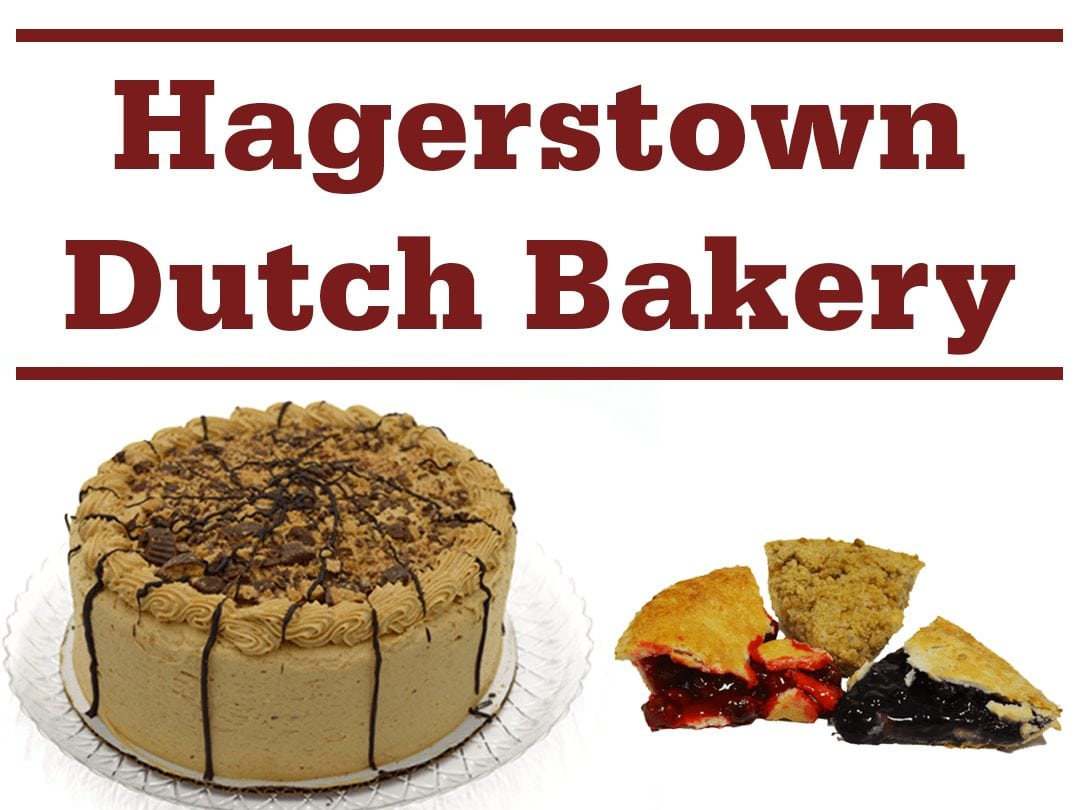"a whole cake, slices of various pies, and words ""Hagerstown Dutch Bakery"""