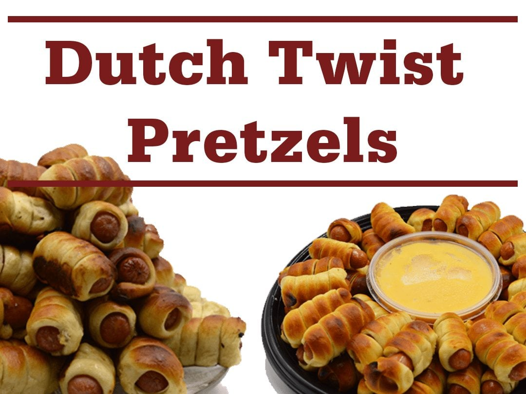 "platters of pretzel wrapped hot dogs with cheese dip and words ""Dutch Twist Pretzels"""