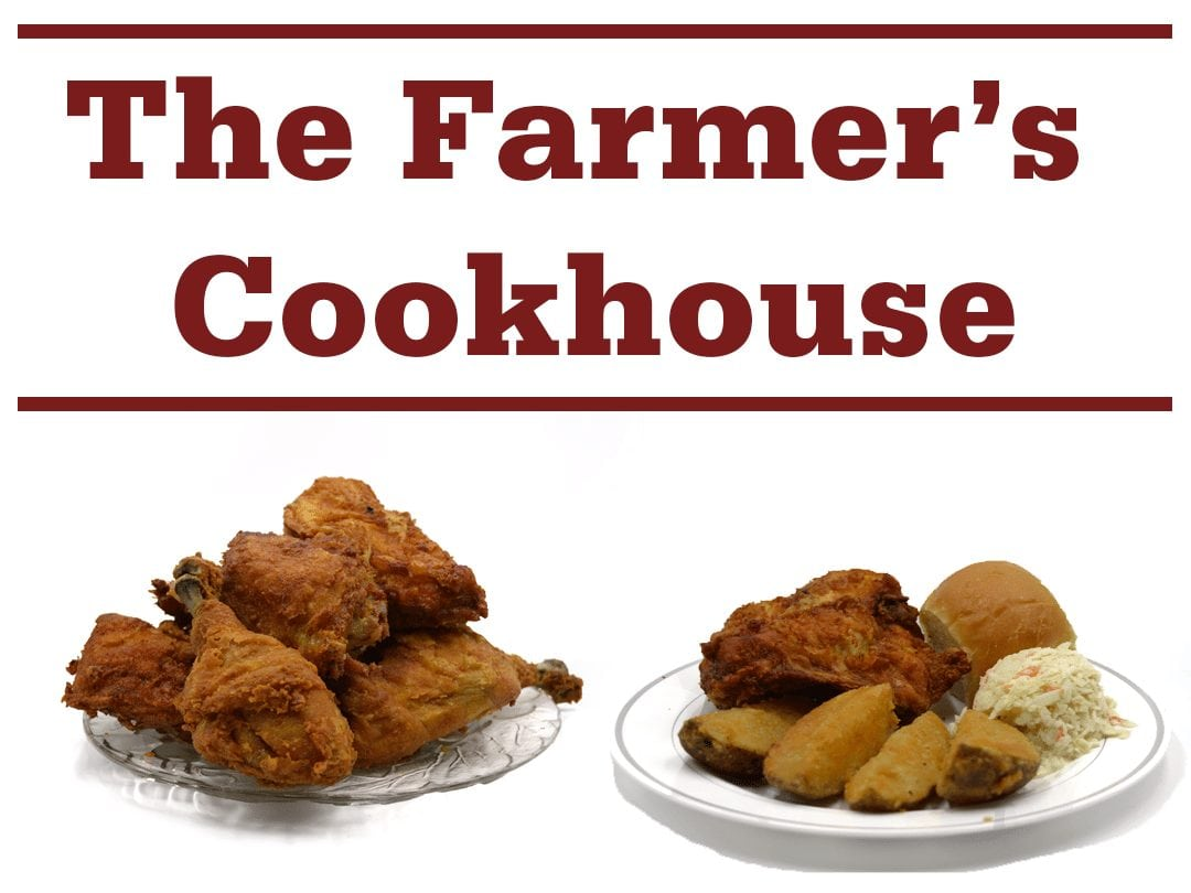 "plates containing fried chicken, potato wedges, coleslaw, and dinner roll, and words ""The Farmer's Cookhouse"""