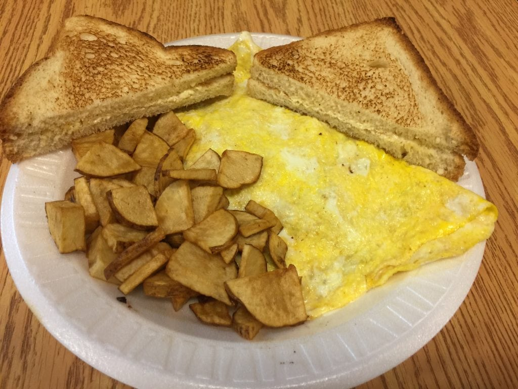omelette, toast, and home fries