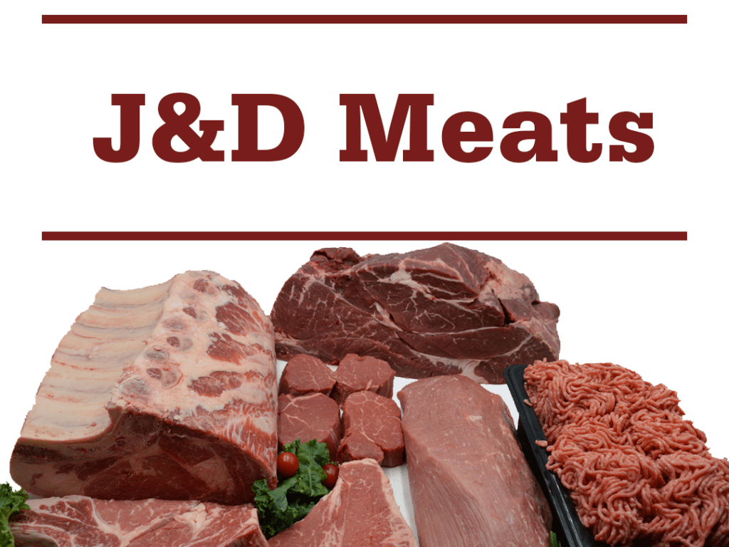 "various raw meats and words ""J&D Meats"""