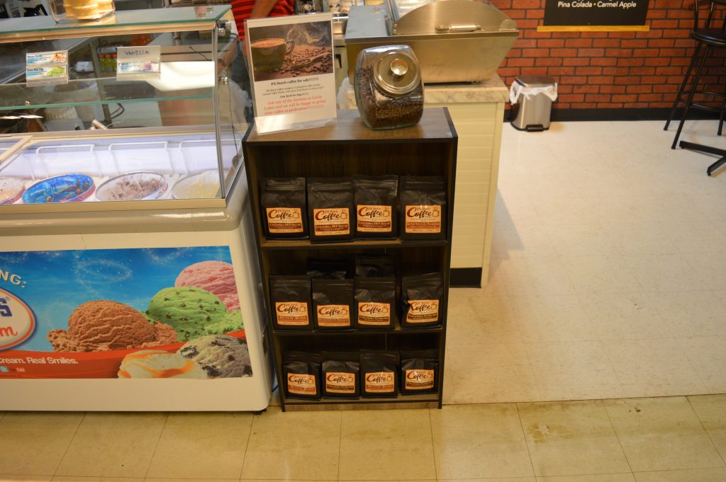 display of different coffees