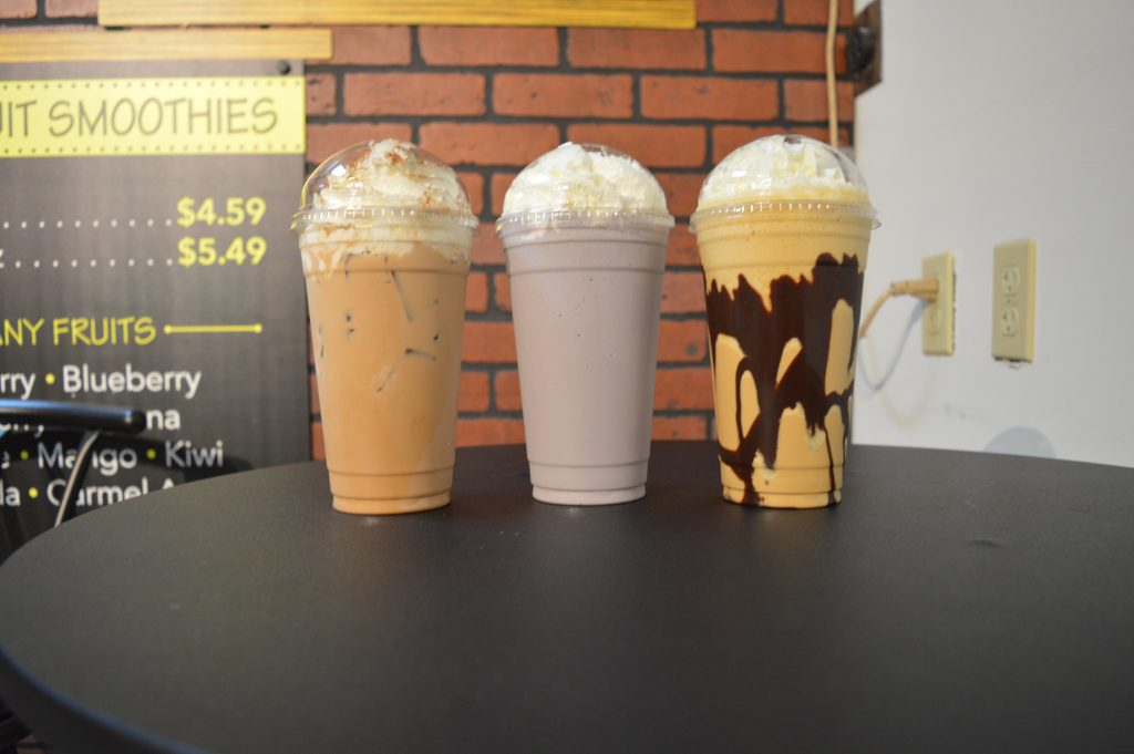 variety of milkshakes, iced coffees, and smoothies